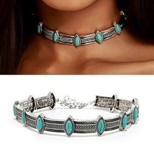 Faux Turquoise Marquise Silver Choker Necklace